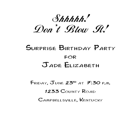 Free Printable Birthday Invitation 2 - Inside