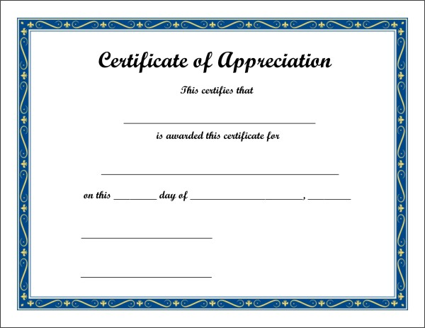 Certificate of Appreciation 4