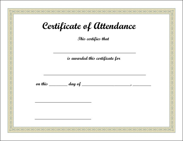 Certificate of Attendance - 5