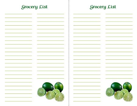 Free Printable Grocery List 3 - 2 Up